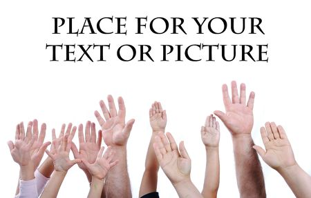 Many different sizes hands on isolated background Stock Photo - 5730817