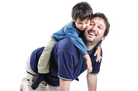 smoothfaced: Happy young father with his child on white background