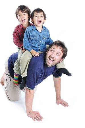 smoothfaced: Happy young father with his children on white background