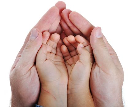 Big and small hands on isolated background Stock Photo - 5730862
