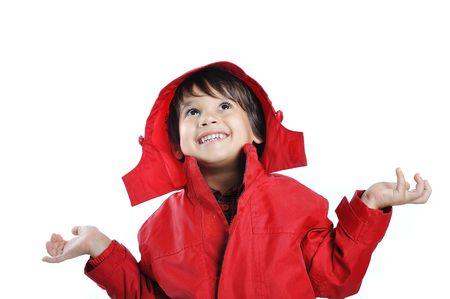 rain coat: Very cute child in autumn winter fashion clothes