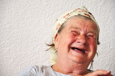 mujer fea: Old persona de sexo femenino de edad, muy agradable y divertido cara Foto de archivo