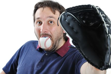 Young man with baseball ball in mouth Stock Photo - 5731232