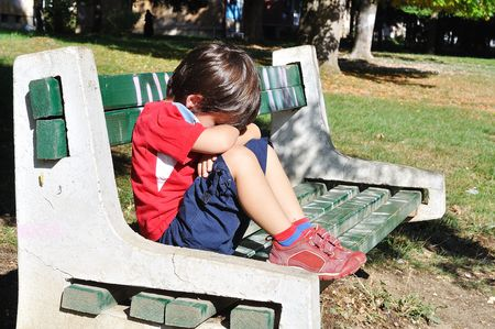 joyless: Sad child in the park, outdoor, summer to fall