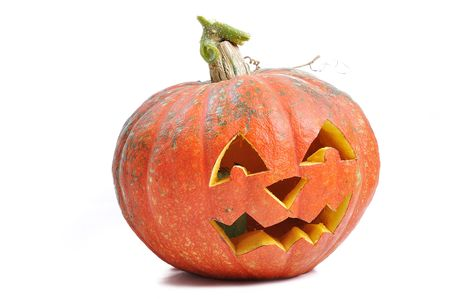 horrific: The carved face of pumpkin glowing on Halloween