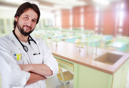 Male doctor in a lab Stock Photo - 5781734
