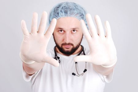 Young male doctor in white Stock Photo - 5781873