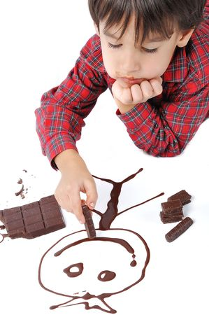 Writing and painting with chocolate