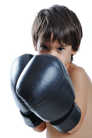 boxing training: Boxing gloves on children hands Stock Photo