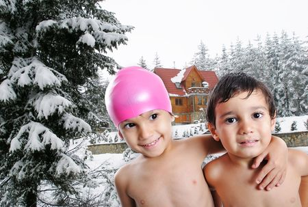 without clothes: Happy two children without clothes, outdoor scene