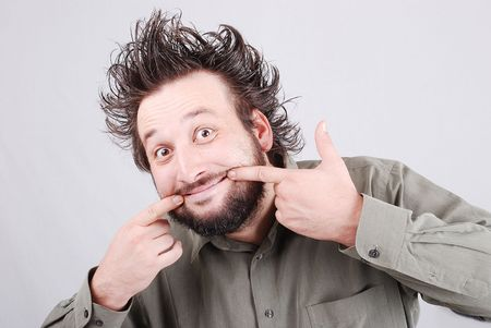 Man with funny gesture   photo