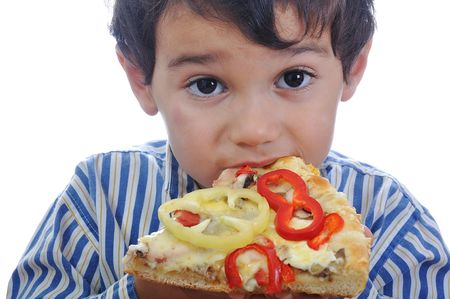 Cute little boy eating pizza, isolated Stock Photo - 5799548