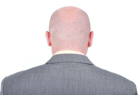 head back: Young bald businessman from his back Stock Photo