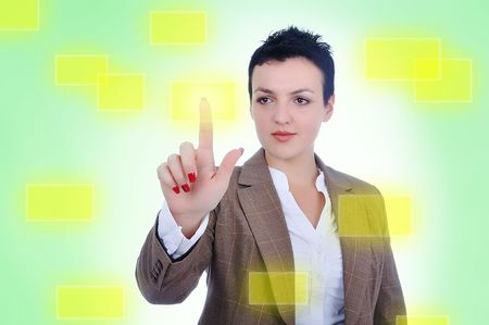 Young woman pressing digital button Stock Photo - 5814805