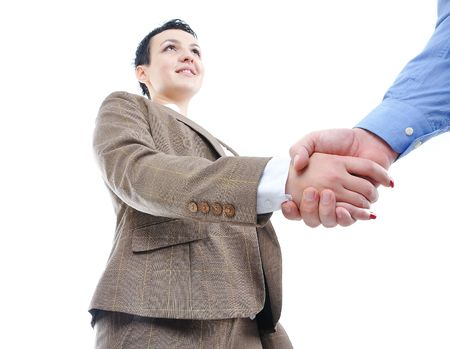 Young businessperson shaking hand isolated photo