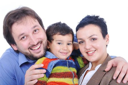 Happy members of young family isolated Stock Photo - 5835696