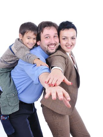 Happy members of young family isolated Stock Photo - 5835695