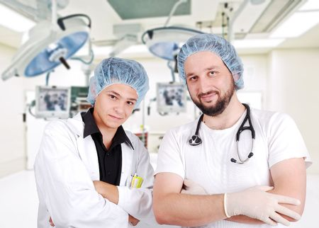 Two young doctors in surgery room Stock Photo - 5853169