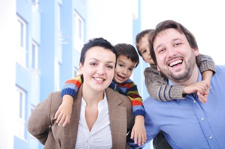 Very beautiful happy family, four members Stock Photo - 5853174