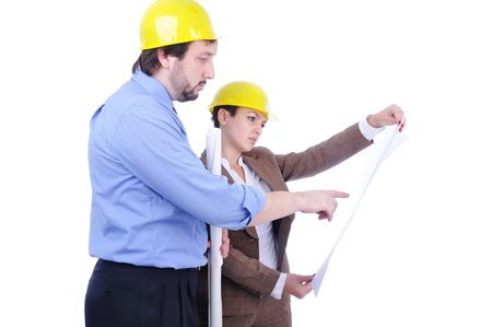 Male and female engineers isolated Stock Photo - 5887223
