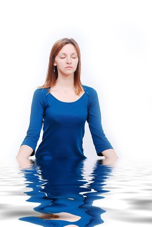 Young calm woman in water Stock Photo - 5853210