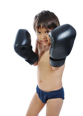 Boxing gloves on children hands photo