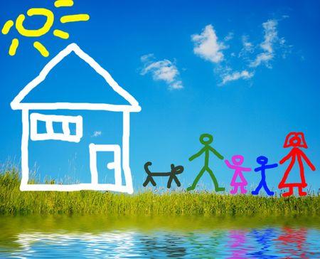 familia de cinco: Muy hermosa familia feliz, cinco miembros