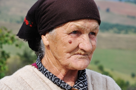 russian culture: Very old woman with expression on her face