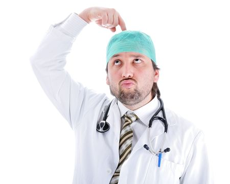 characteristic: Young attractive male doctor in characteristic clothes Stock Photo