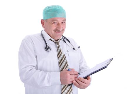 Positive elderly male doctor in characteristic clothes Stock Photo - 6011826
