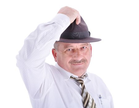 Elderly male person with a hat, isolated photo