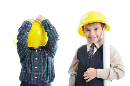 designer baby: Little cute engineers isolated, kids playing together