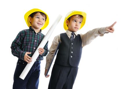 constructor: Little cute engineers isolated, kids playing together