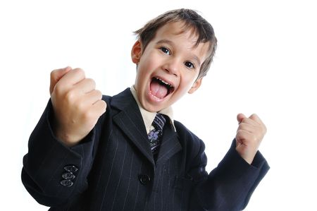 done: Pure success on kids face, great gesture Stock Photo