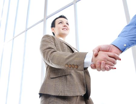 Making a deal, young woman and man's hand Stock Photo - 6013291