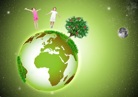 hands holding tree: Green beautiful Earth in the Space, with two happy children Stock Photo