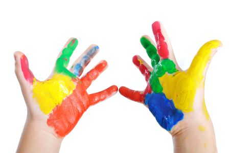 kindergartner: Messy hands, childhood