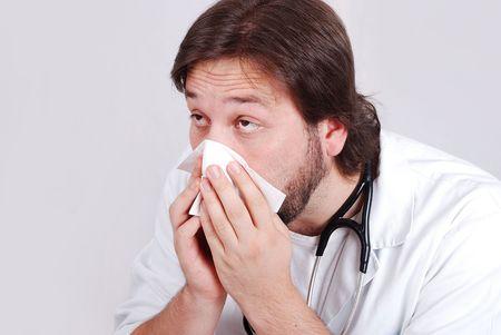 Sick doctor has a flu photo