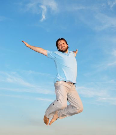 reached:  Young active man jumping