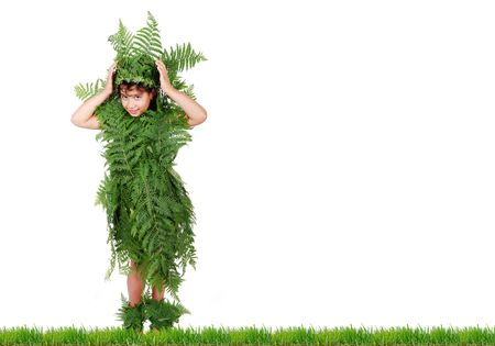 Plant girl on grass isolated photo