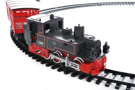 old container: Train toy, present for children Stock Photo