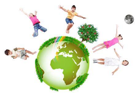happy planet earth: ni�os felices Foto de archivo