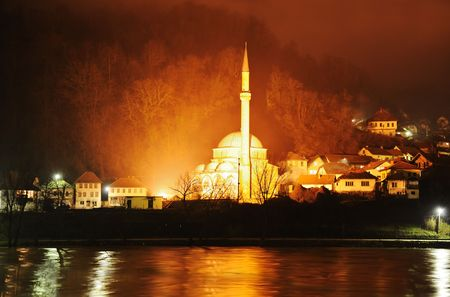 istanbul beach: mosque in night Stock Photo