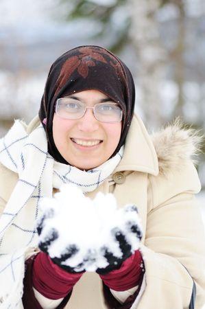 young beautiful muslim woman outdoor in winter Stock Photo - 6325761