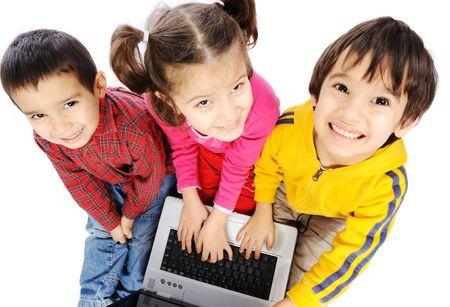 computer game: Children on laptop