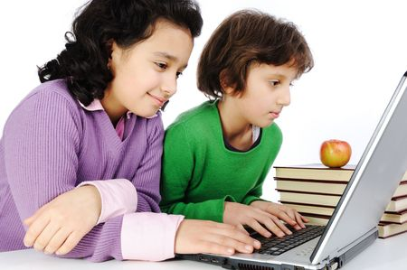 Children on laptop photo