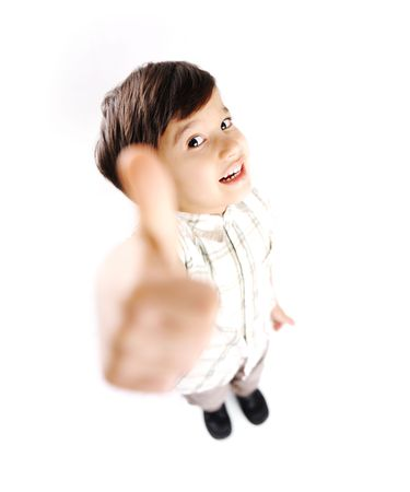 Positive boy with thumb up! photo