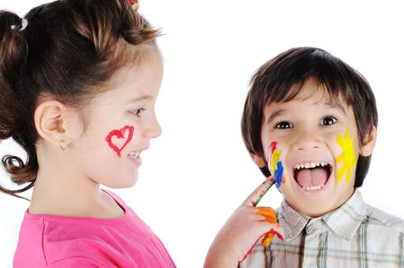 Beautiful children with colors photo