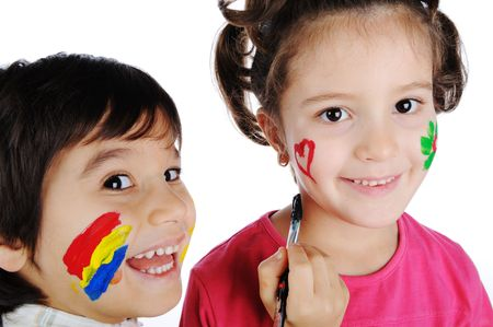 Happy children with colors photo