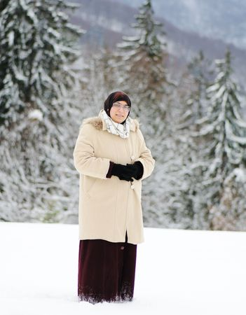 Muslim woman on snow Stock Photo - 6433557